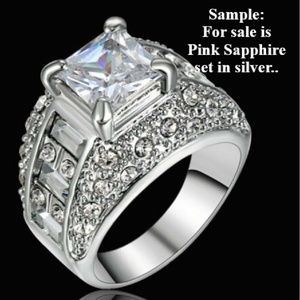 FASHION PINK SAPPHIRE SET IN SILVER WEDDING RING